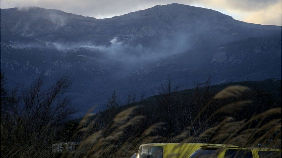 A fire fuelled by the storm in Corsica