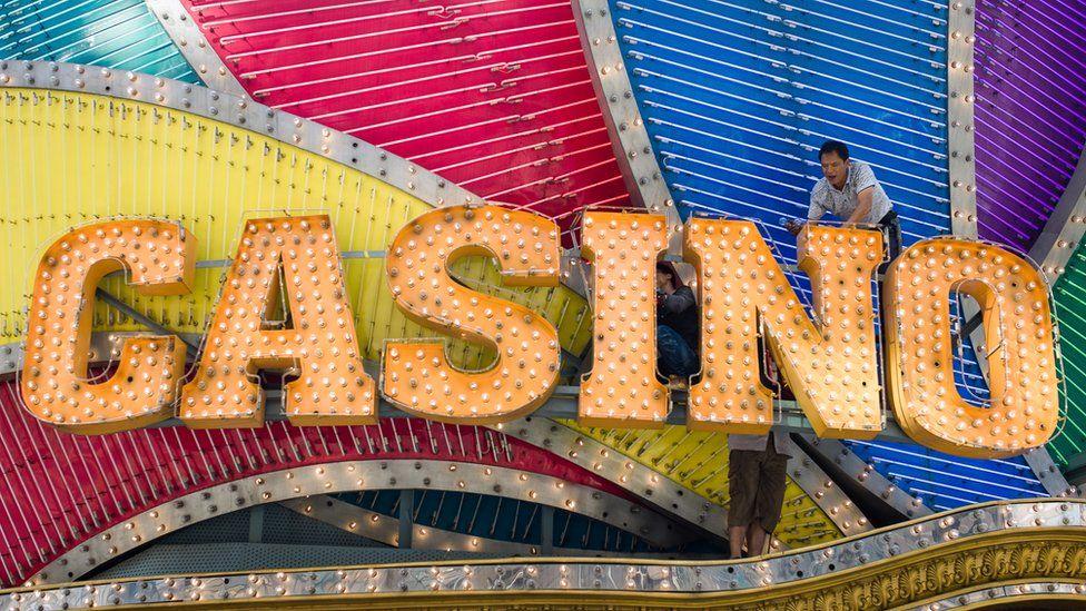 A casino sign in Macau