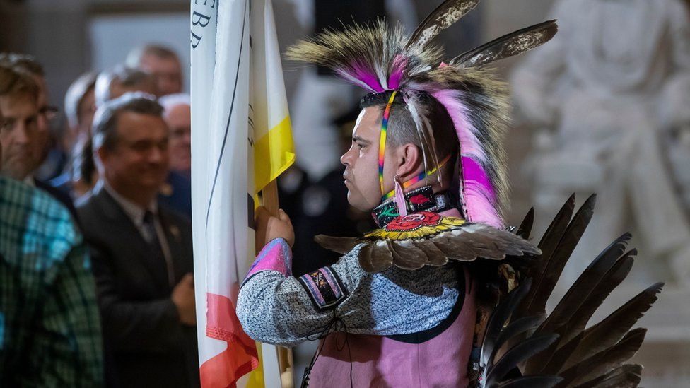 Colour guard member Andrew Thompson, a member of the Choctaw Nation of Oklahoma, participates in the dedication ceremony for the statue of Ponca Chief Standing Bear of Nebraska in Statuary Hall of the US Capitol in Washington, DC, USA, 18 September 2019
