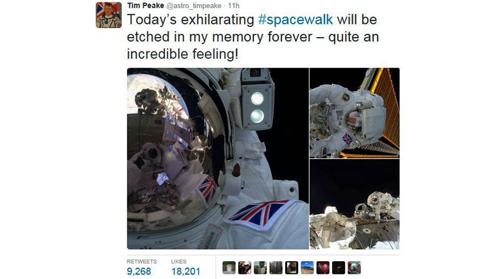 Tim Peake's tweet