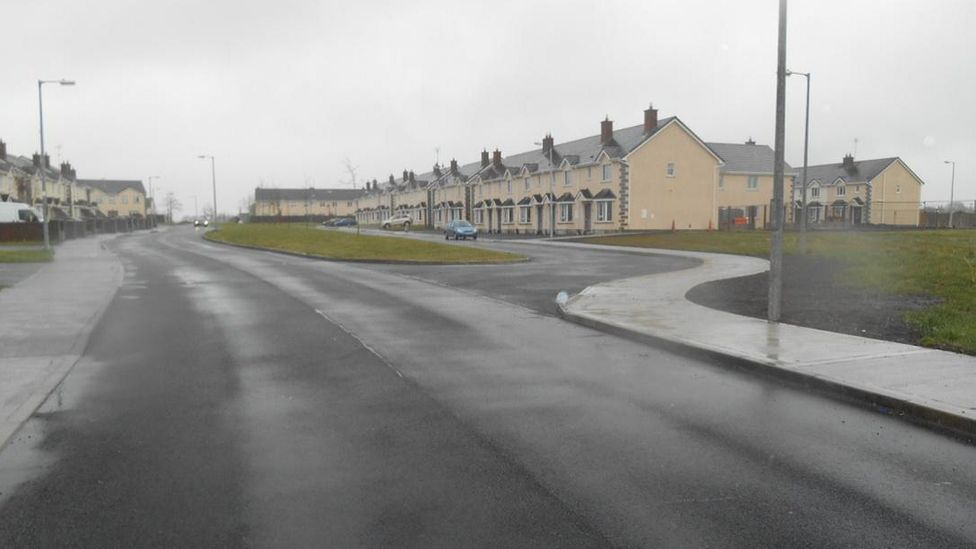 Housing estate in Clochran, Tuam, Galway after works to complete unfinished road
