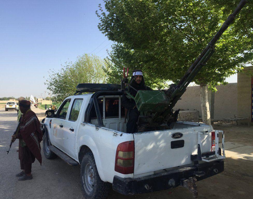 Taliban with an anti-aircraft gun