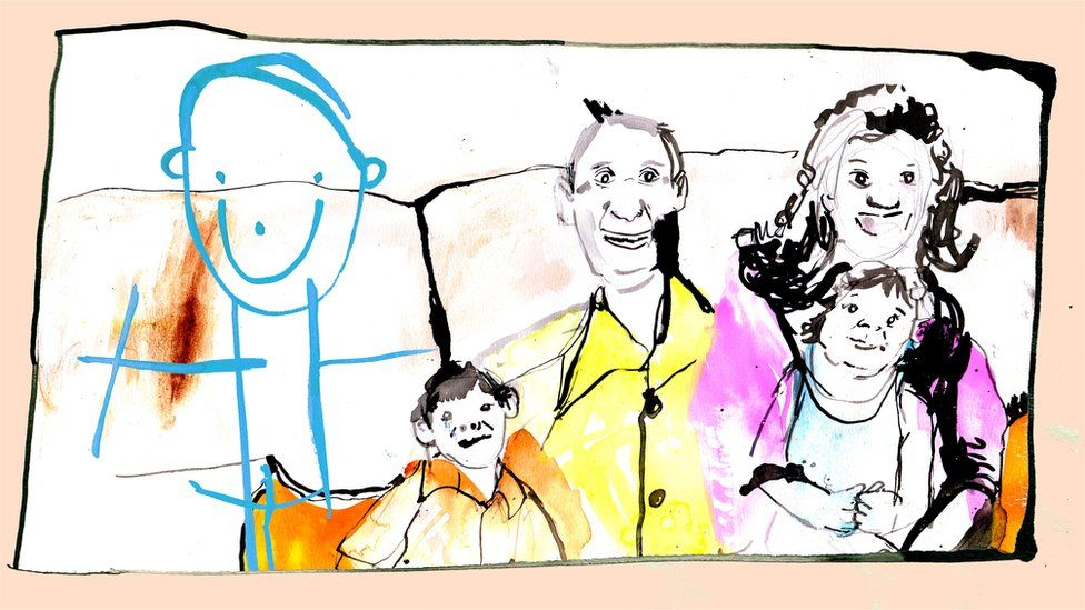 Family portrait with a boy drawn in