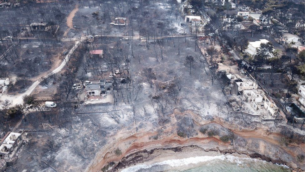 Aerial view of wildfire damage in Mati, Greece