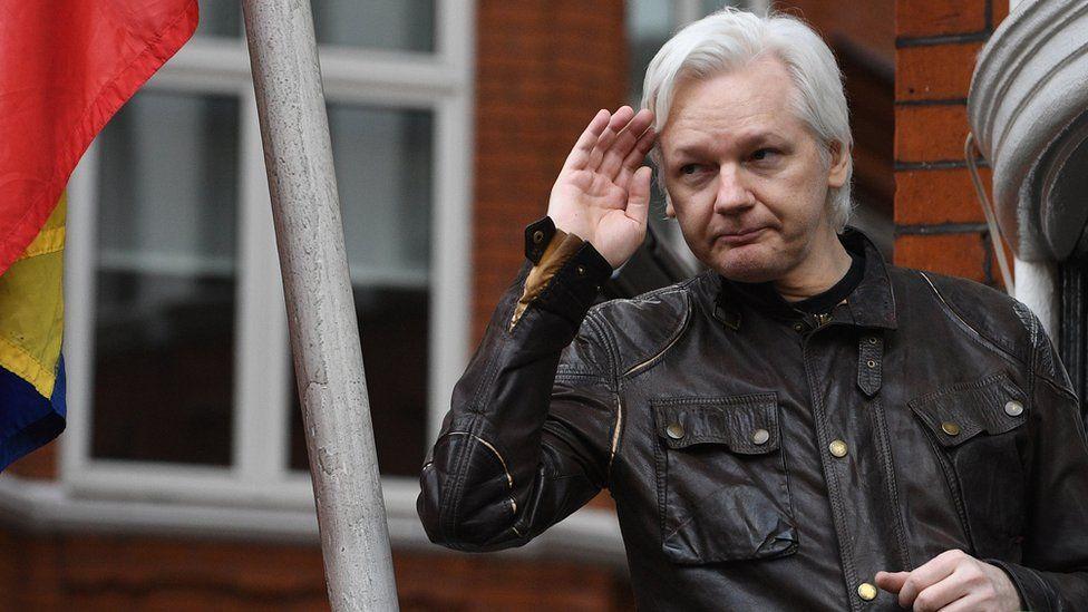 Julian Assange gives a speech at the Ecuadorian Embassy in London, 19 May 2017