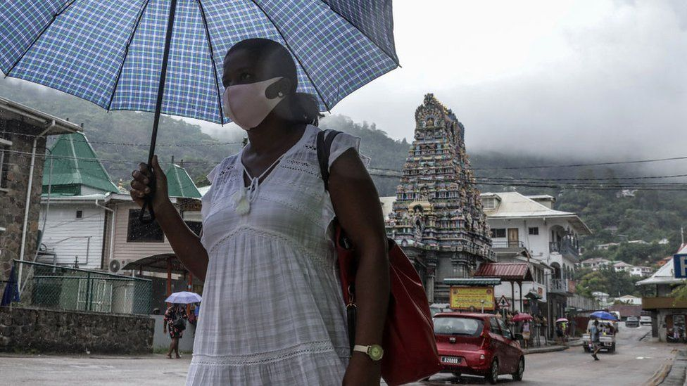 woman in victoria, seychelles
