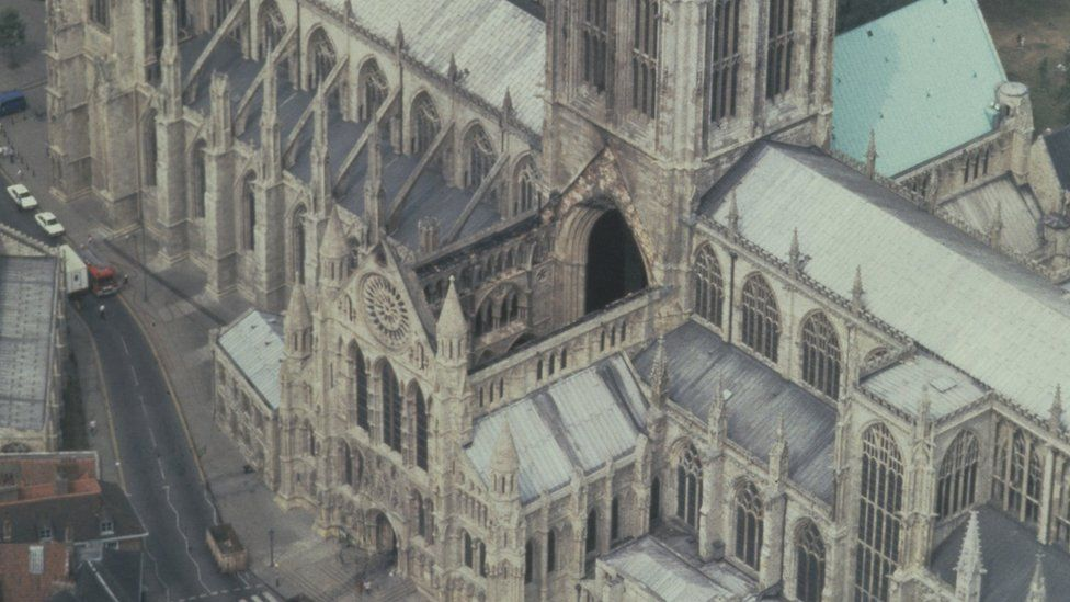 York Minster the morning after the fire in 1984