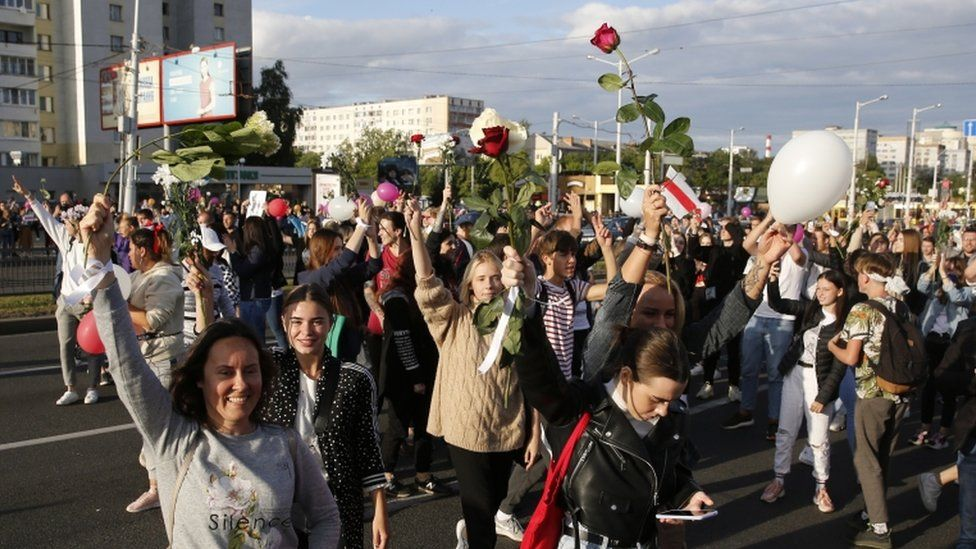 Protesters in Minsk, Belarus 13 August 2020