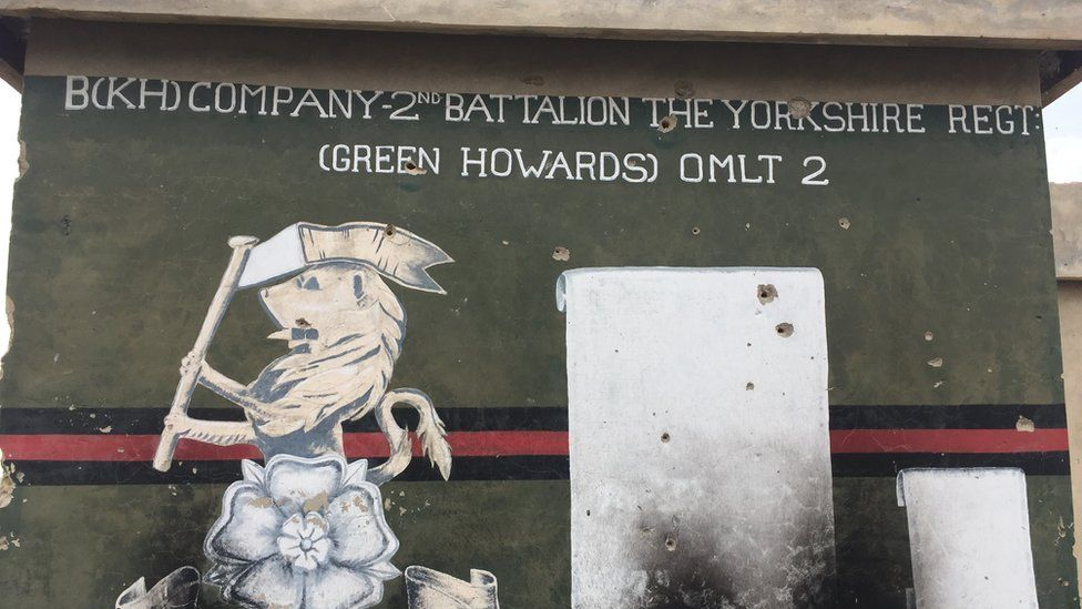 Sign on the police headquarters in Sangin