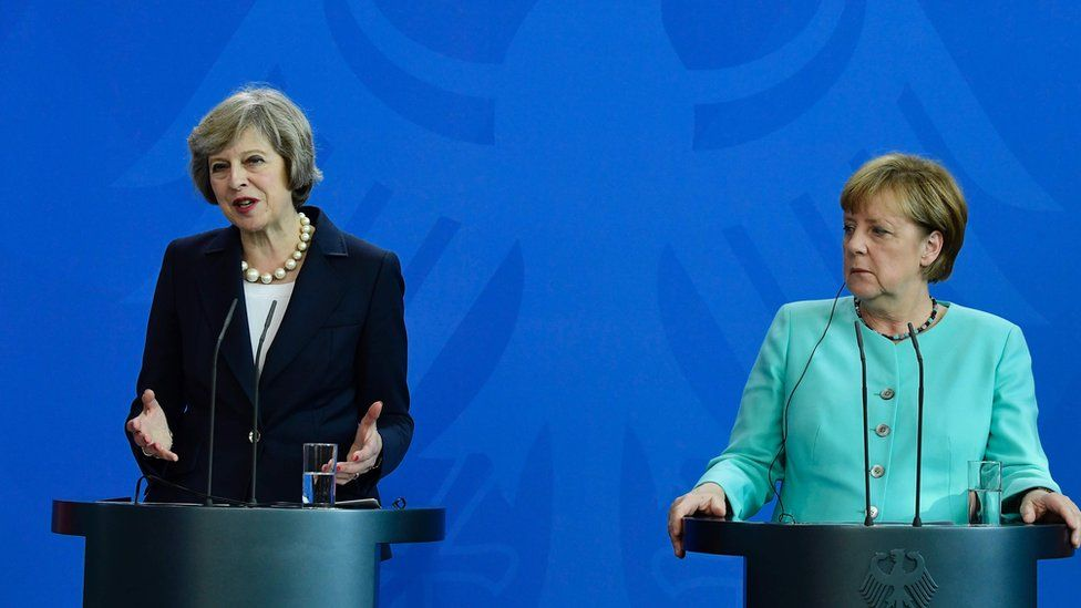British Prime Minister Theresa May and German Chancellor Angela Merkel.
