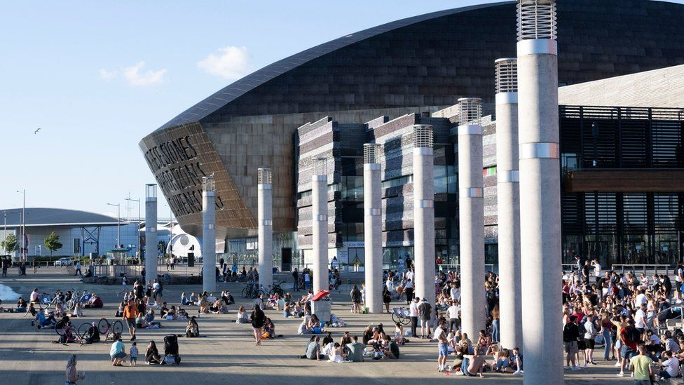 People congregating at Cardiff Bay