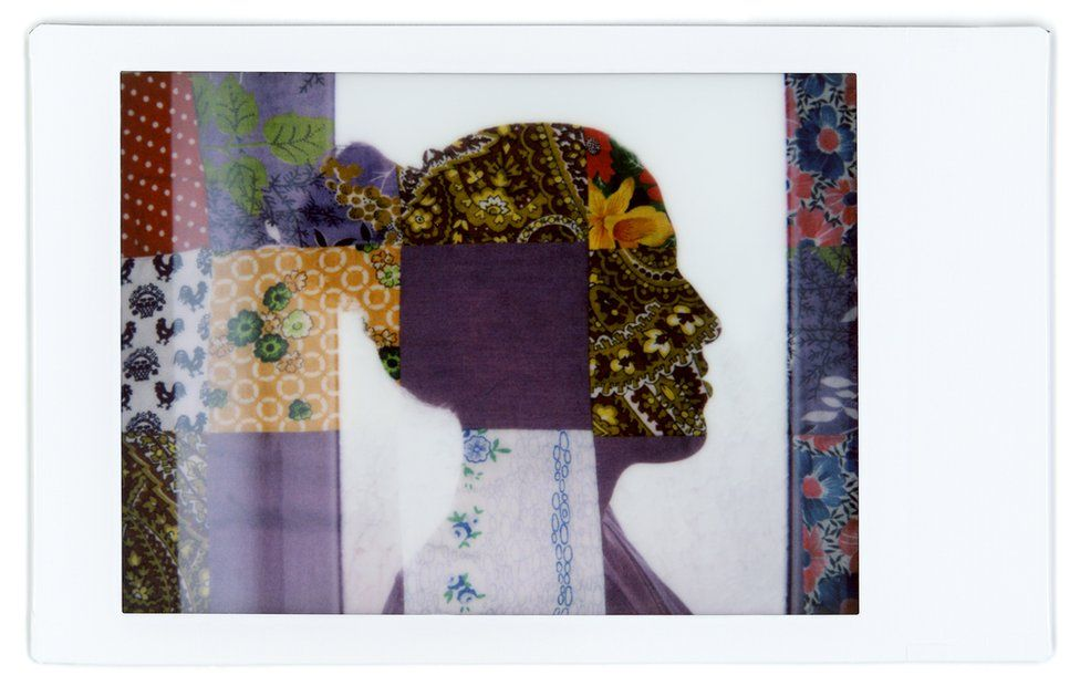 A composite image showing the profile of Ratha with a patterned baby blanket over the top