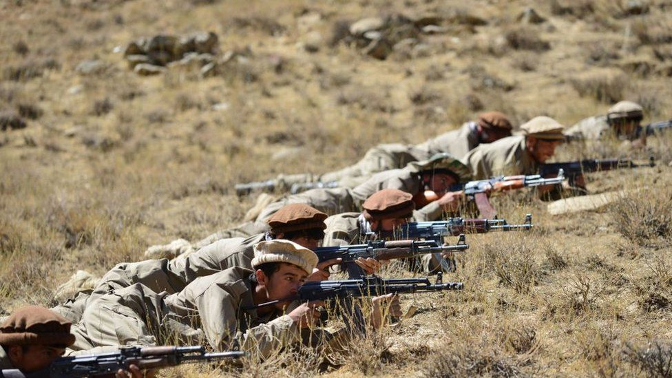 Afghan National Resistance Front fighters training in the Panjshir Valley, 4 September 2021