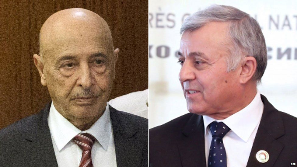 Rival Libyan leaders Agila Salah (l) and Nouri Abusahmen (r) have been urged to work together