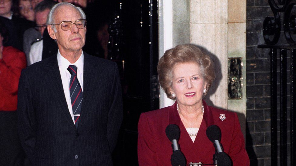 Margaret Thatcher on her last day as PM