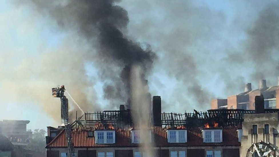 The damaged roof following a fire in a University of Bristol block of accommodation