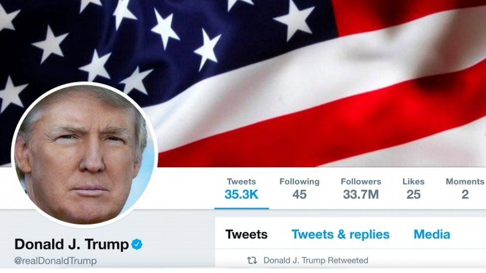 A picture showing the masthead of President Donald Trump's @realDonaldTrump Twitter account