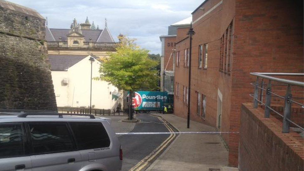 The crash happened at the bottom of a steep street in the city centre