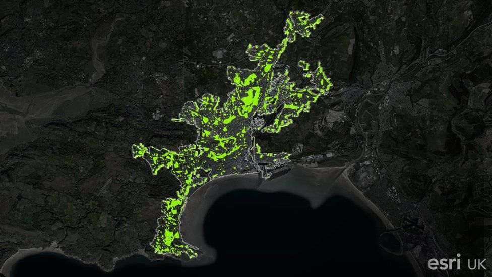 Map of green spaces in Swansea