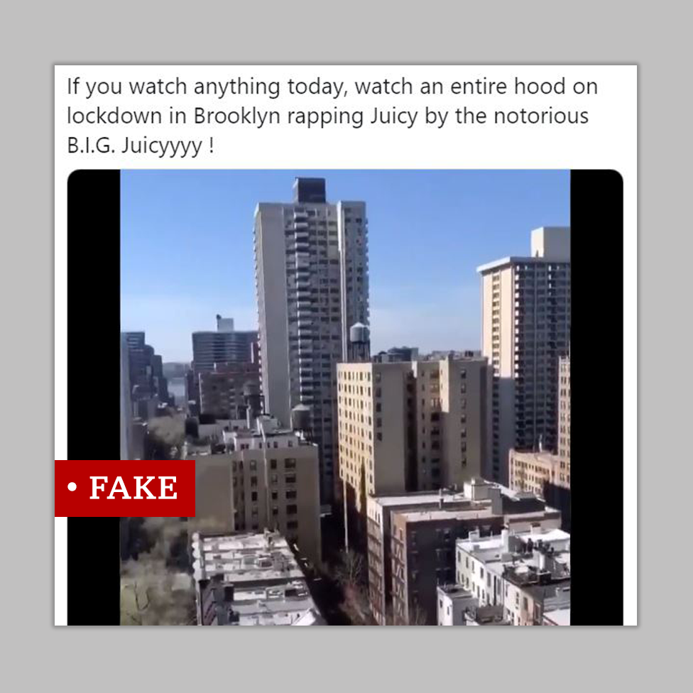 "New York skyline screenshot. Labelled ""fake"""