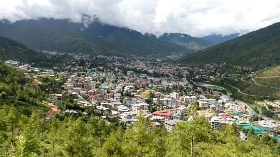 This photo taken on August 25, 2018, shows a general view of Bhutan's capital Thimphu