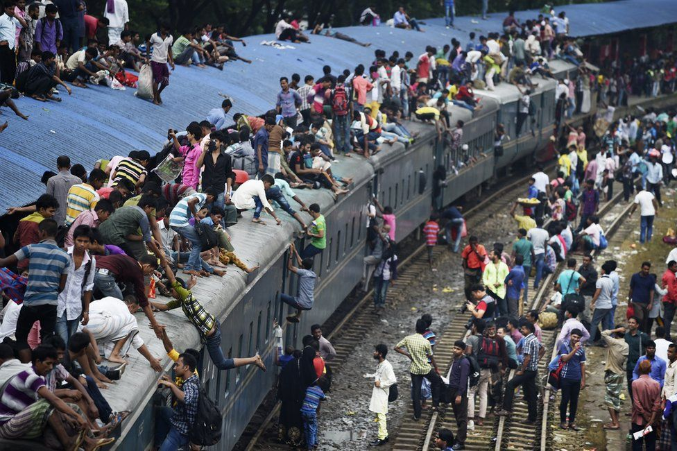 Overcrowded train in Bangladesh