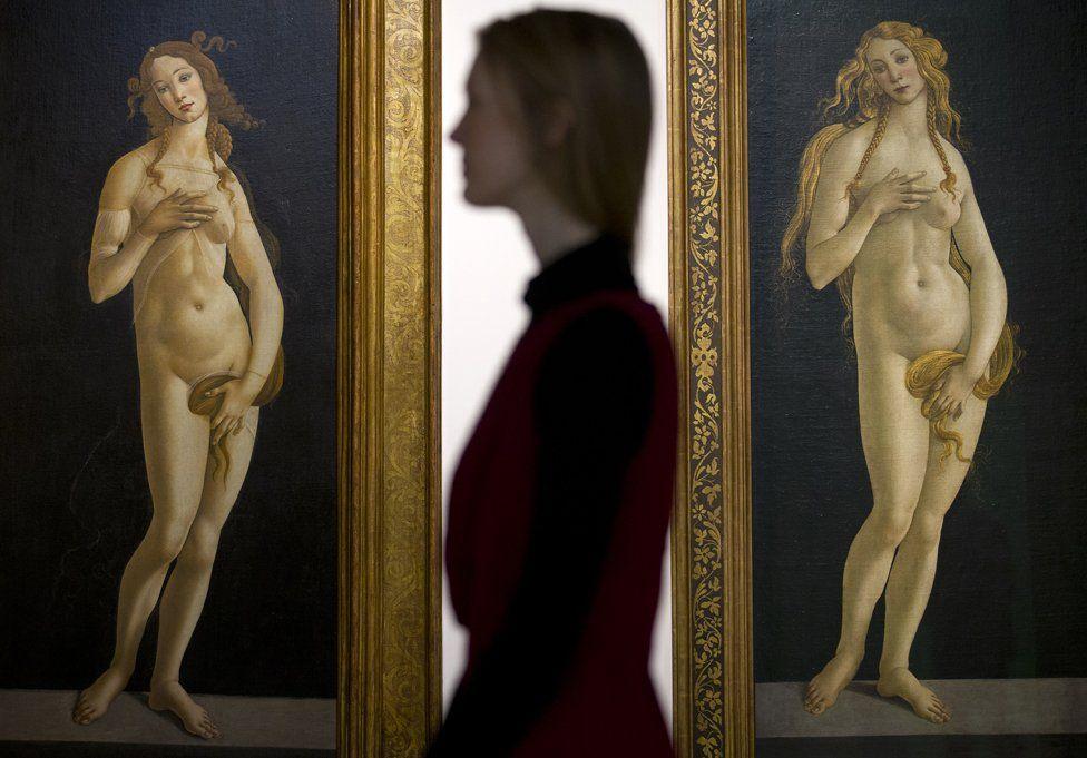 'Venus 1490' and 'Venus 1490' both by Italian painter Sandro Botticelli, at the Victoria and Albert museum