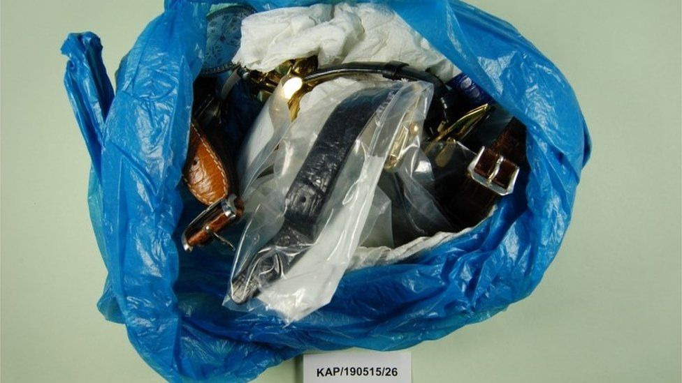 Plastic bag containing wristwatches found in casserole dish in the kitchen cupboard at Bletsoe Walk