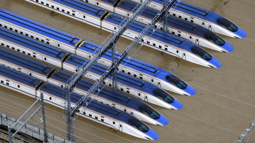 Japan typhoon Hagibis: Ten flooded bullet trains scrapped