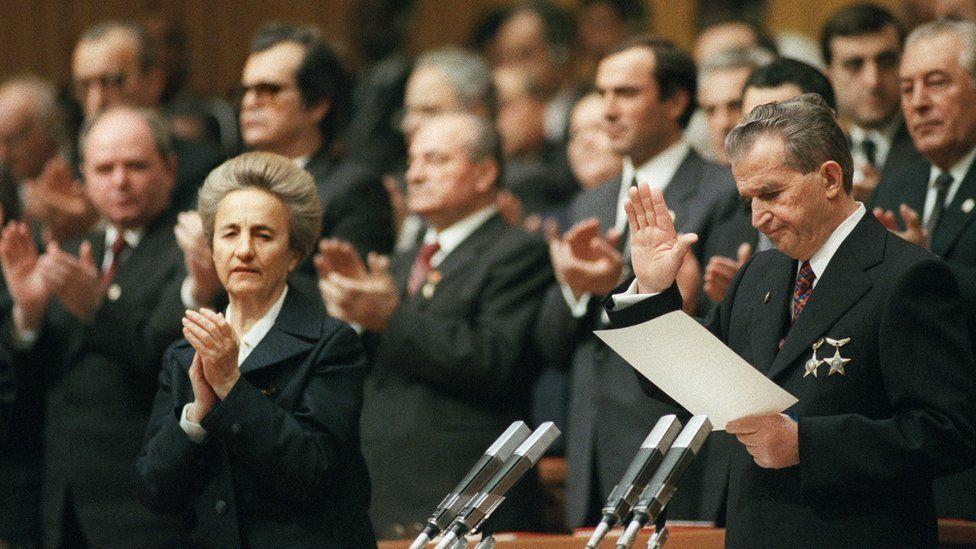 Communist dictator Nicolae Ceausescu (R) with party elite, Nov 1989