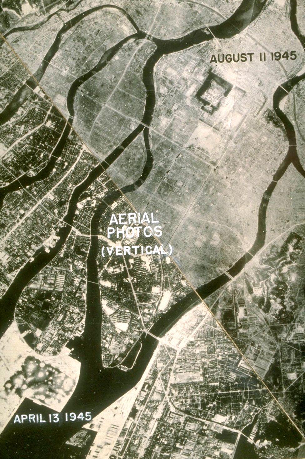 左下角照片顯示原子彈爆炸之前的廣島,右上角照片是爆炸之後的廣島