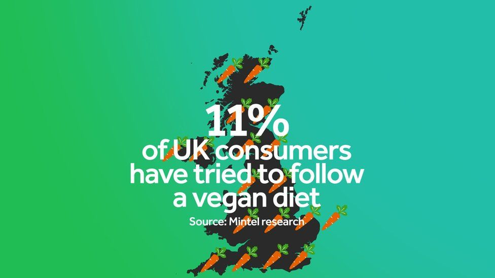 A graph showing that 11% of UK consumers have tried a vegan diet