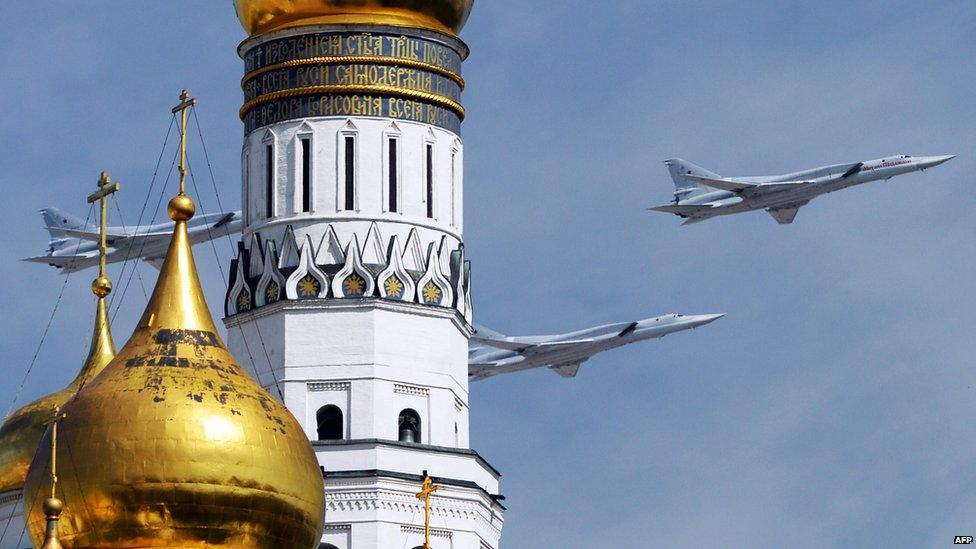 Russian Tu-22M3 bombers in Moscow flypast, 9 May 15