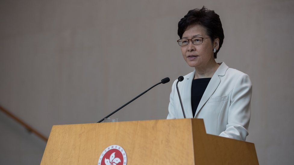 Carrie Lam speaking at a press conference on 17 September 2019
