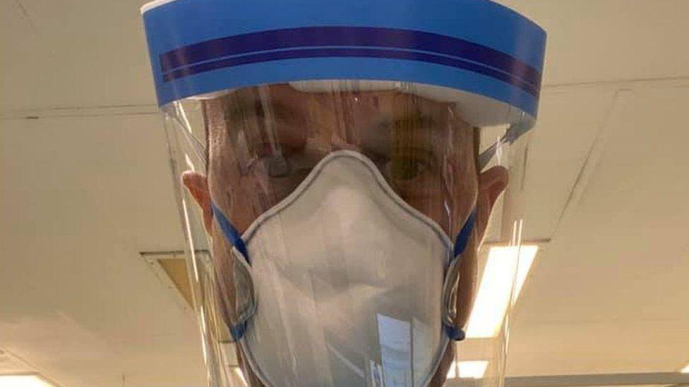 Dan Harvey wearing coronavirus protective equipment