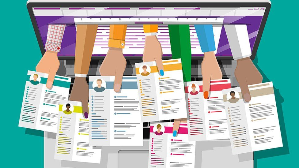 Illustration of multiple job applications coming out of laptop screen