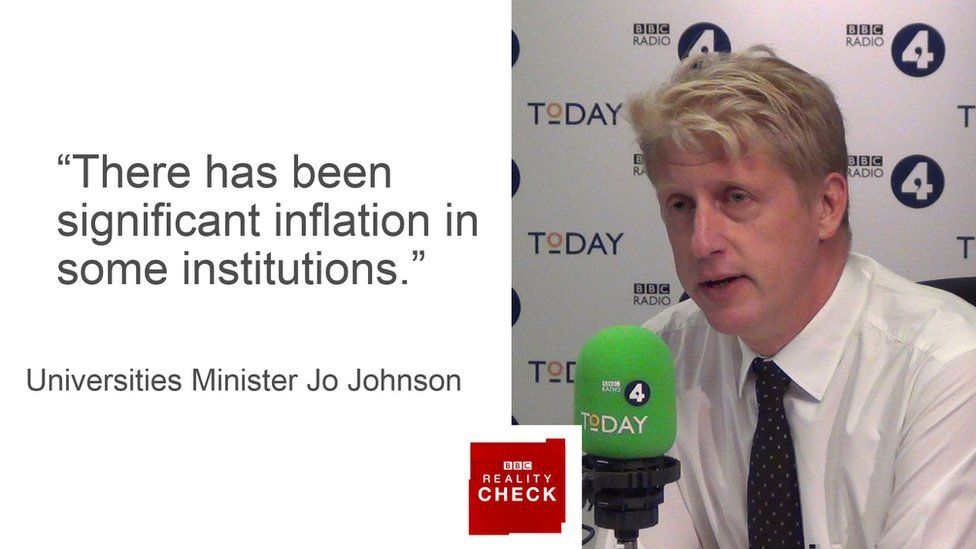 Jo Johnson saying: There has been significant inflation in some institutions