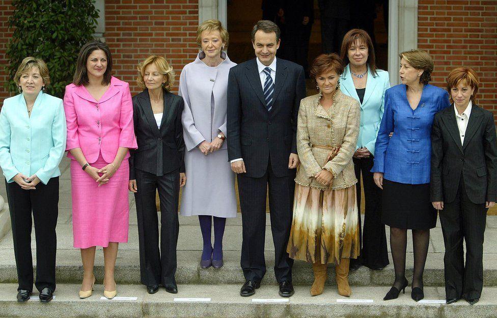 Jose Luis Rodriguez Zapatero (C) with the eight female ministers of his cabinet (from L) : Maria Jesus Sansegundo, Maria Antonia Trujillo, Maria Teresa Fernandez de la Vega, Carmen Calvo, Cristina Narbona, Magdalena Alvarez, and Elena Espinosa in April 2004