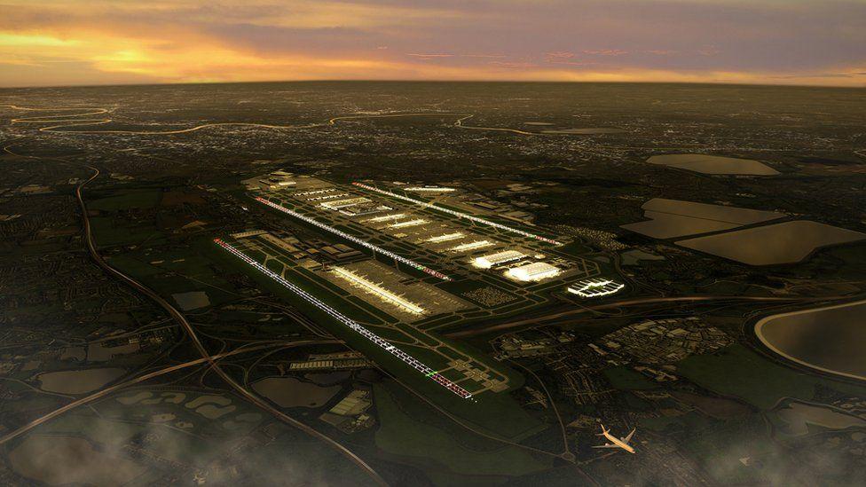 Sunset rendering of third runway
