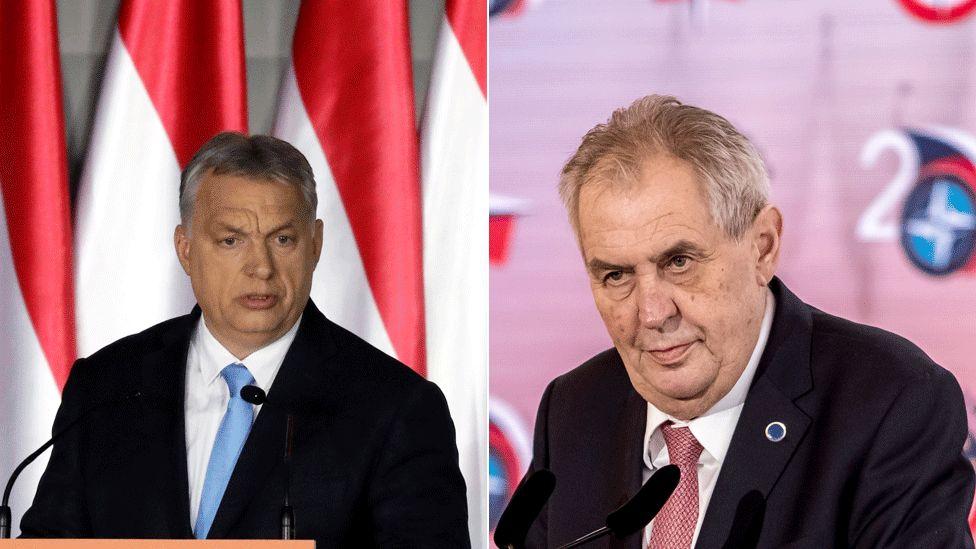 Viktor Orban (L) and Czech President Milos Zeman