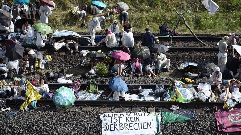 Climate activists blocked the rail tracks leading to the Hambach surface mine