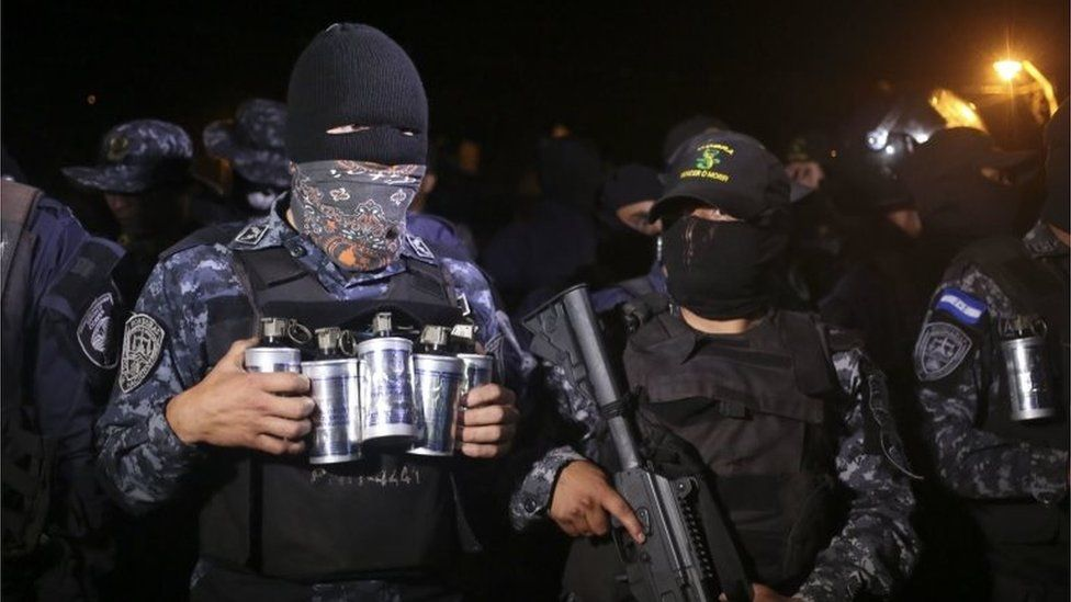 A group of officers of the Cobras anti-riot unit of the Honduran Police who have declared a sit-down strike due to the political crisis in the country, stand idle in Tegucigalpa, Honduras, 04 December 2017