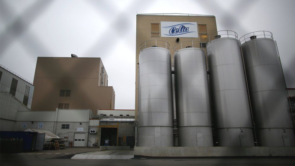 The Celia dairy company's infant milk factory, which is part of the Lactalis Group, in Craon, France, 12 January 2018