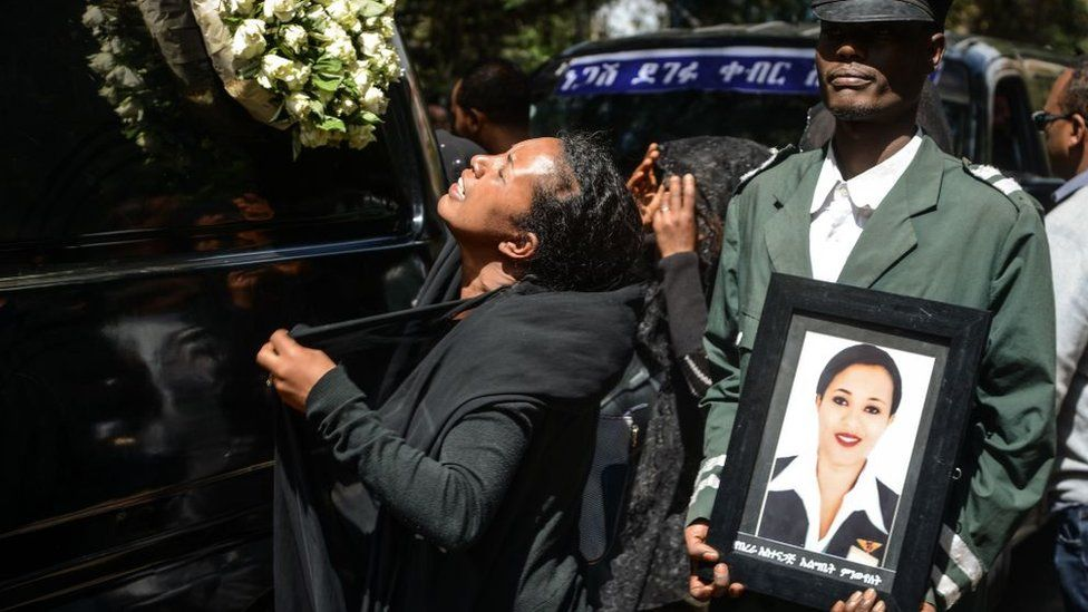 Mourners attend a mass funeral for victims of the crashed Ethiopian Airlines flight