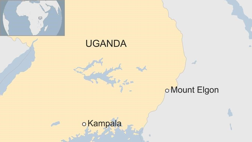 Map showing location of Elgon