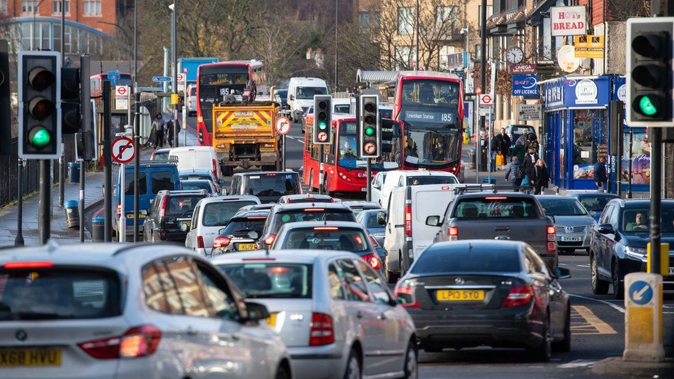 General view traffic of the A205 South Circular road in Lewisham,