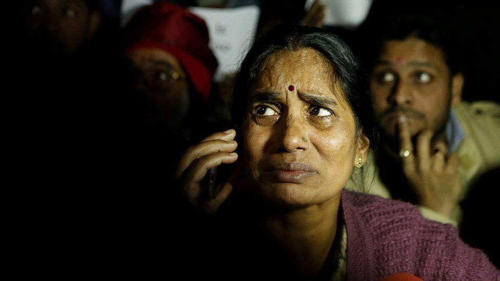 Mother of Nirbhaya breaks down during a protest against the release of juvenile convict of the 16 December gang-rape, along with student activists at Jantar Mantar on December 20, 2015 in Delhi, India.