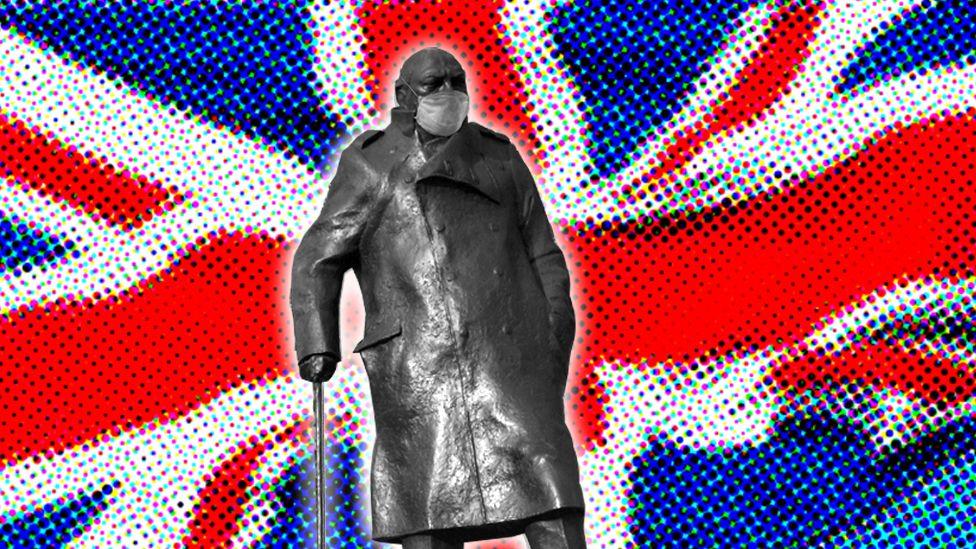 Churchill wearing a mask