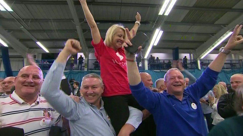 Vote Leave campaigners celebrating in Sunderland on 24 June, 2016, after the EU referendum