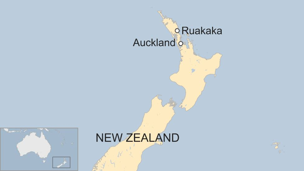 Image shows a map of New Zealand with Auckland and Ruakaka highlighted